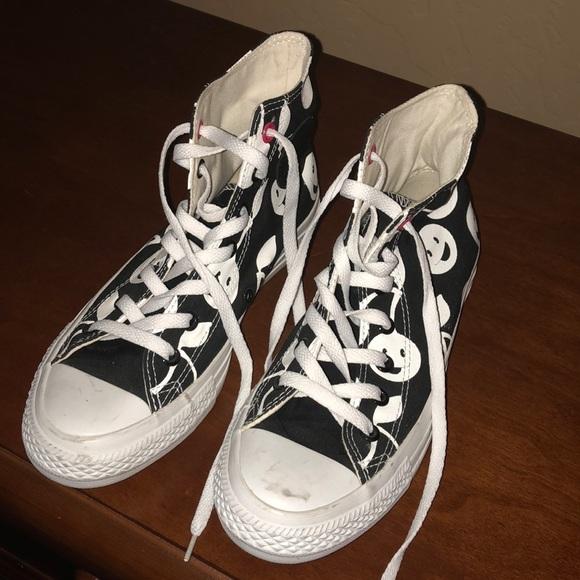 b3a5d56b77bd1f Converse Shoes - 2 converse black white cherry hi-top size 8